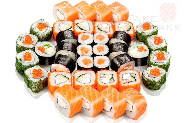 Токио сет. Доставка суши, доставка лапши wok, доставка бургеров. Киев, Борщаговка. Take Syake