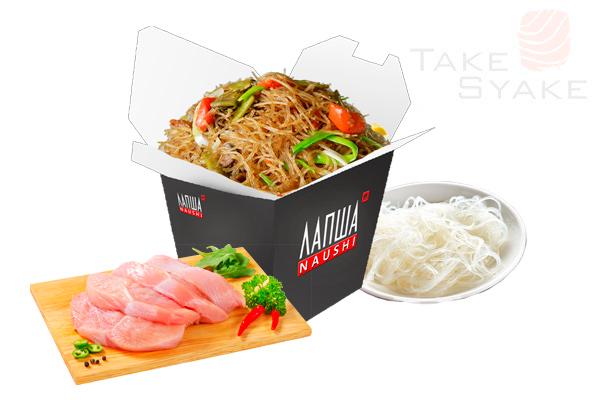Фунчоза с курицей (350г). Доставка суши, доставка лапши wok, доставка бургеров. Киев, Борщаговка. Ta