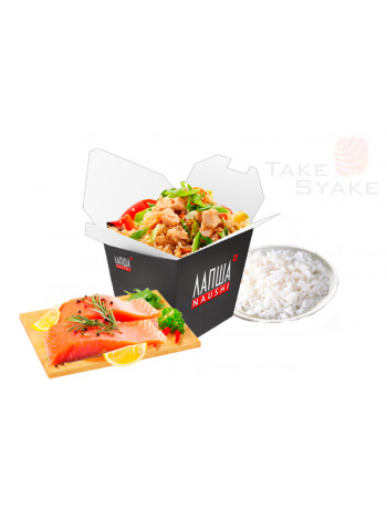 Тяхан с лососем (350г). Доставка суши, доставка лапши wok, доставка бургеров. Киев, Борщаговка. Take