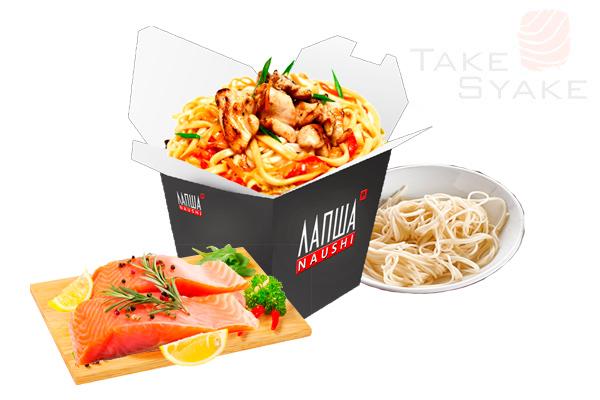 Удон с лососем (350г). Доставка суши, доставка лапши wok, доставка бургеров. Киев, Борщаговка. Take